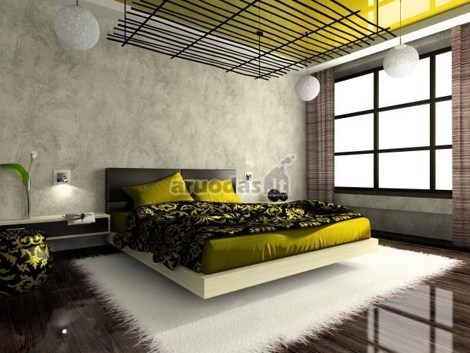 Geltonos ir juodos derinys miegamajame