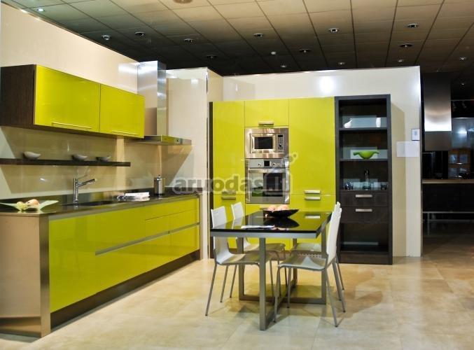 Geltonos virtuvinės spintelės