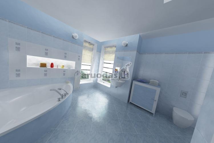 šviesiai melsvas vonios kambario interjeras