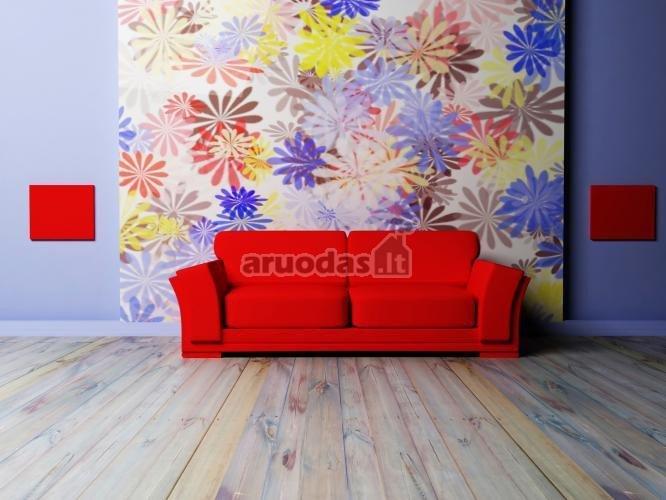 Raudona sofa svetainės interjere