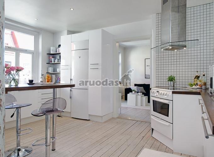 Balta, su juodais kontūrais virtuvė