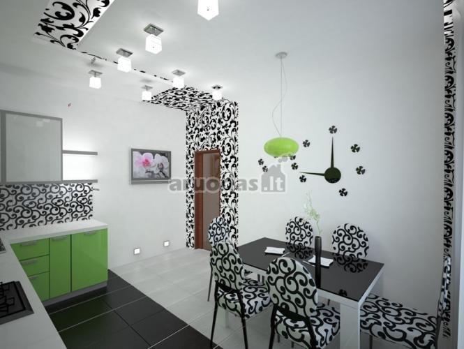 Juoda - balta interjeras, pagyvintas žalios akcento