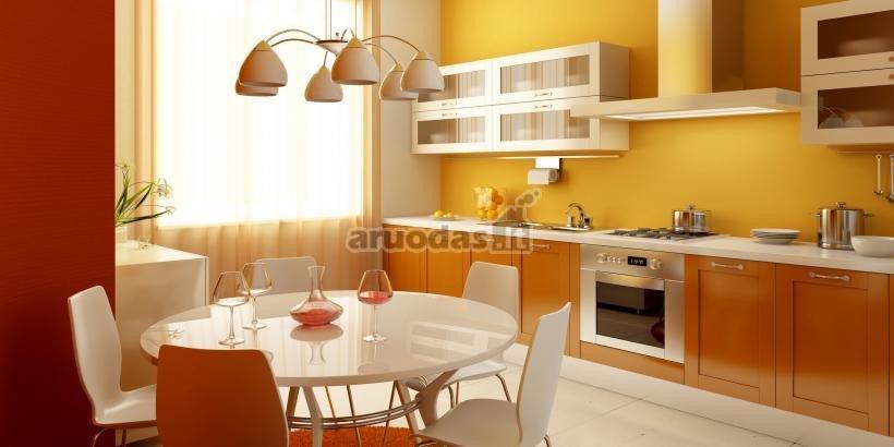 Oranžinė - balta virtuvės dizainas