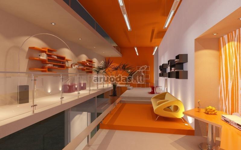 Oranžinė - balta interjeras