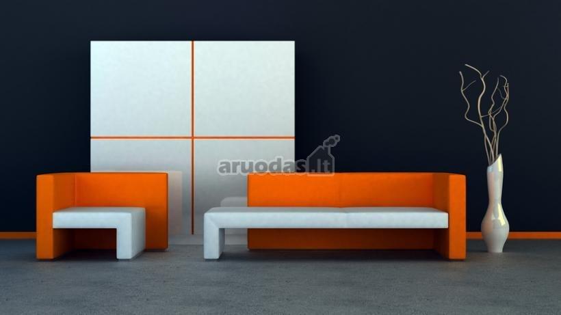 Oranžinis su baltu modernus svetainės suoliukas