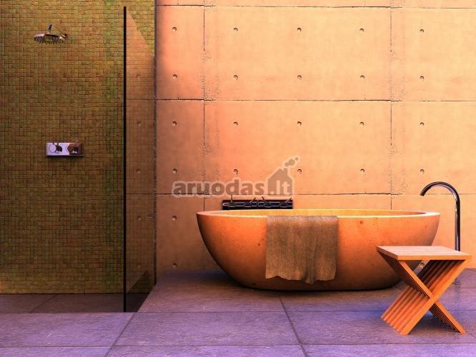 švelniai rausvas - violetinis vonios interjeras