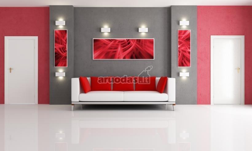 Raudona ir rožinė moderniame interjere