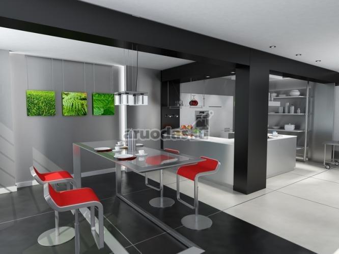 Pilkas namų interjeras, pagyvintas raudona ir žalia
