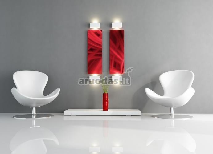 Pilkas modernizmas su keliatu raudonu akcentų
