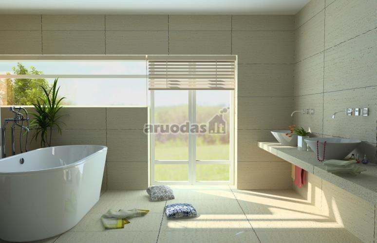 šviesus, pilkšvas vonios kambario interjeras