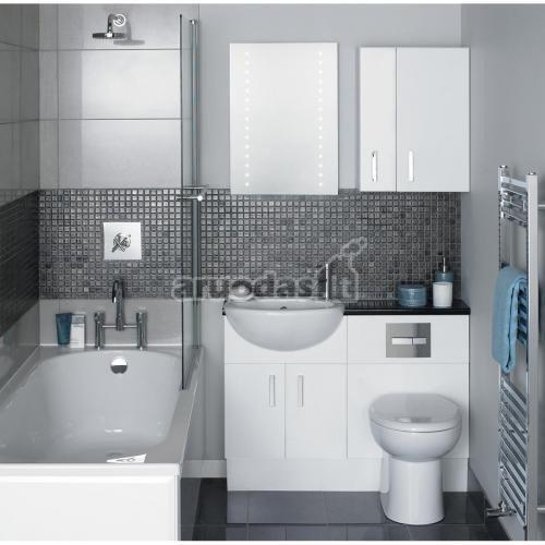 Pilkas vonios kambarys su mėlynu akcentu