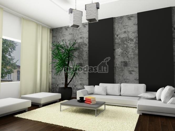 Pilka - balta svetainės interjeras