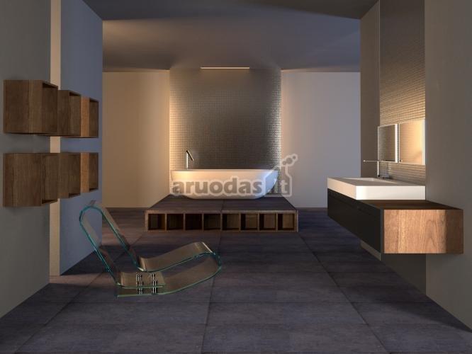 Pilkos vonios kambario grindys