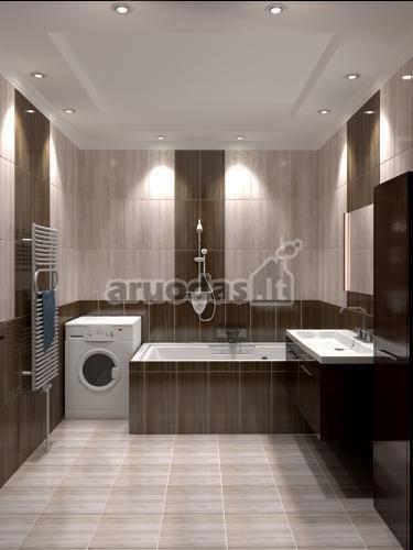Pilkos ir rudos derinys vonios kambaryje