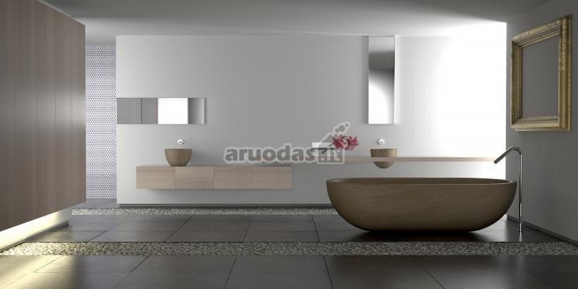 Visiškai pilkas vonios kambarys