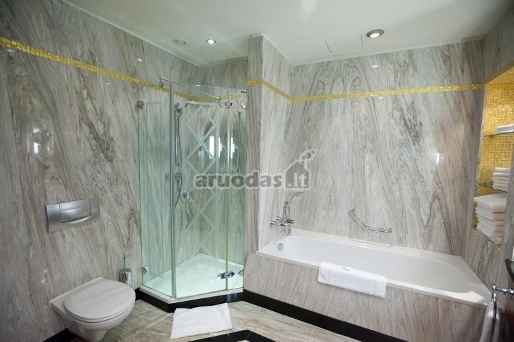 Pilkas, originalios tekstūros vonios kambarys