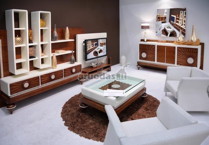 Ryškus rudas akcentas baltoje svetainėje