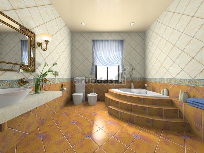 Rudų vonios plytelių dizainas