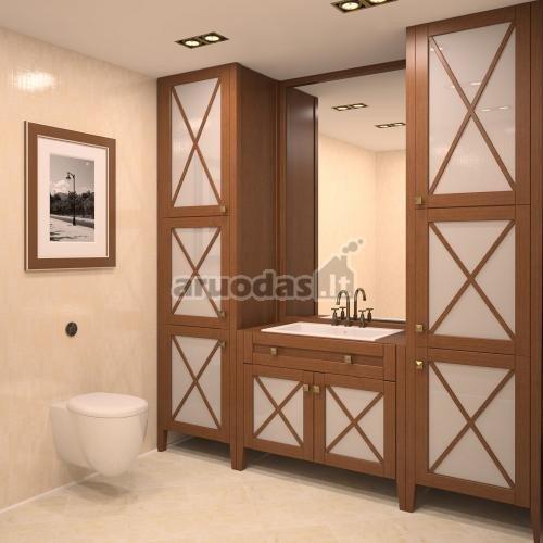 Originalaus dizaino, medinė vonios spinta