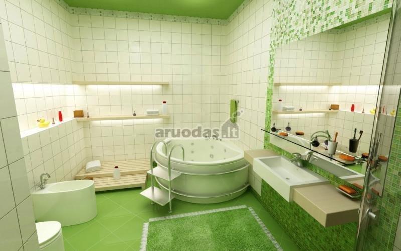 žaliai baltas vonios kambario interjeras