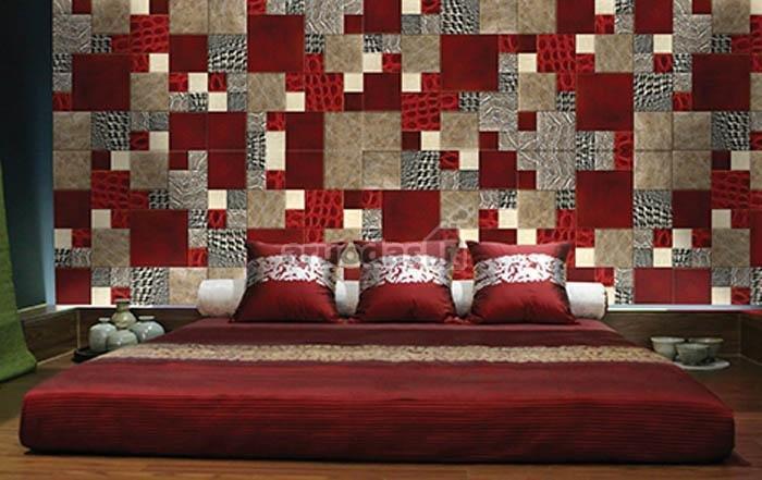 Ryškus baltų ir raudonų kvadratėlių sienos dekoras
