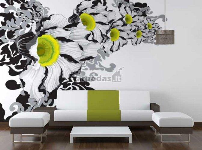 Balta - juoda - žalia spalvų derinys sienų dekore
