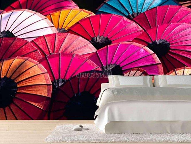 Spalvotų skėčių fototapetas