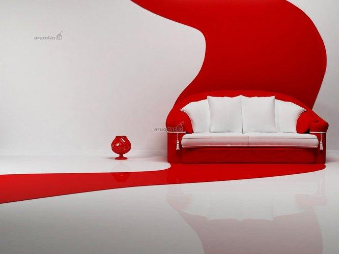 Raudonos spalvos akcentas sienos dekore