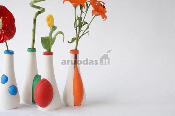 žaismingos, spalvotos, guminės vazos
