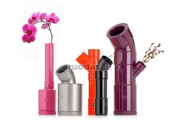 Originalios, spalvingos, vamzdelių formos vazos