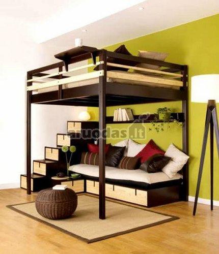 Dviaukštė lova - svetainė - miegamasis