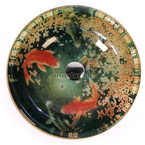 Kriauklė, dekoruota žuvytėmis