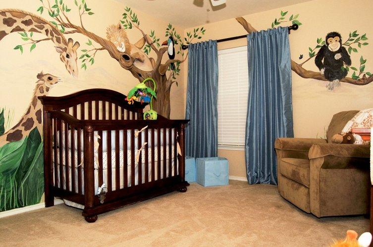 Džiunglių tema kūdikio kambaryje