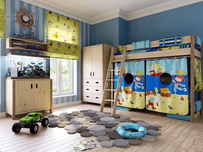 Ryškios spalvos berniuko kambaryje