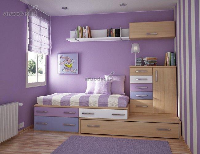 Violetinė spalva mergaitės kambaryje