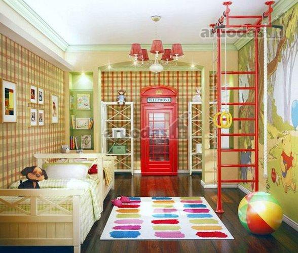Ryškios spalvos vaiko kambaryje