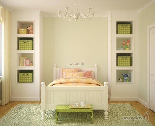 Pastelinių spalų mergaitės kambarys