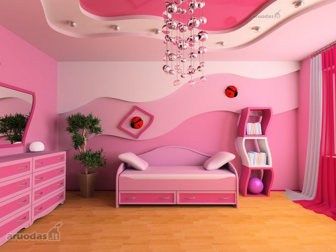 Visiškai rožinis mergaitės kambarys