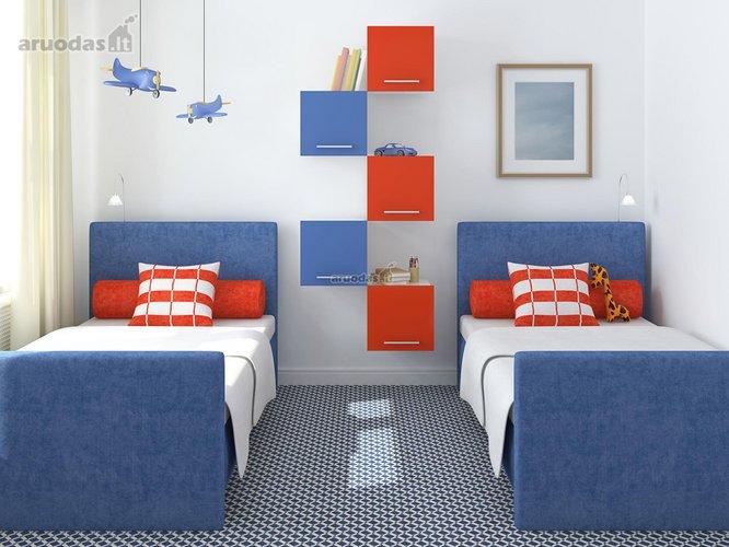 Mėlyna - raudona berniukų kambarys