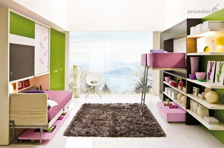 Alyvinės ir žalios derinys vaikų kambaryje
