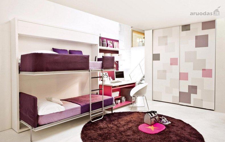 Violetinis vaikų kambario interjeras