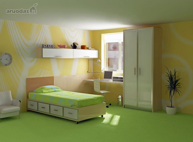 žalia - geltona jaunuolio kambarys