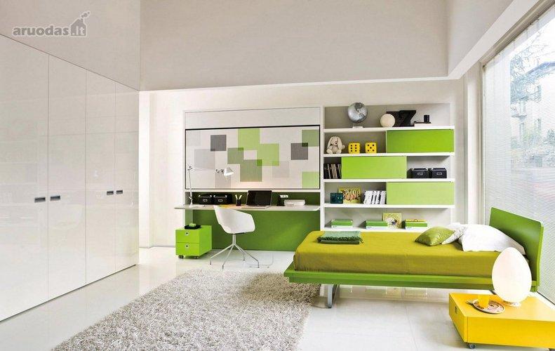 žalias akcentas paauglio kambaryje
