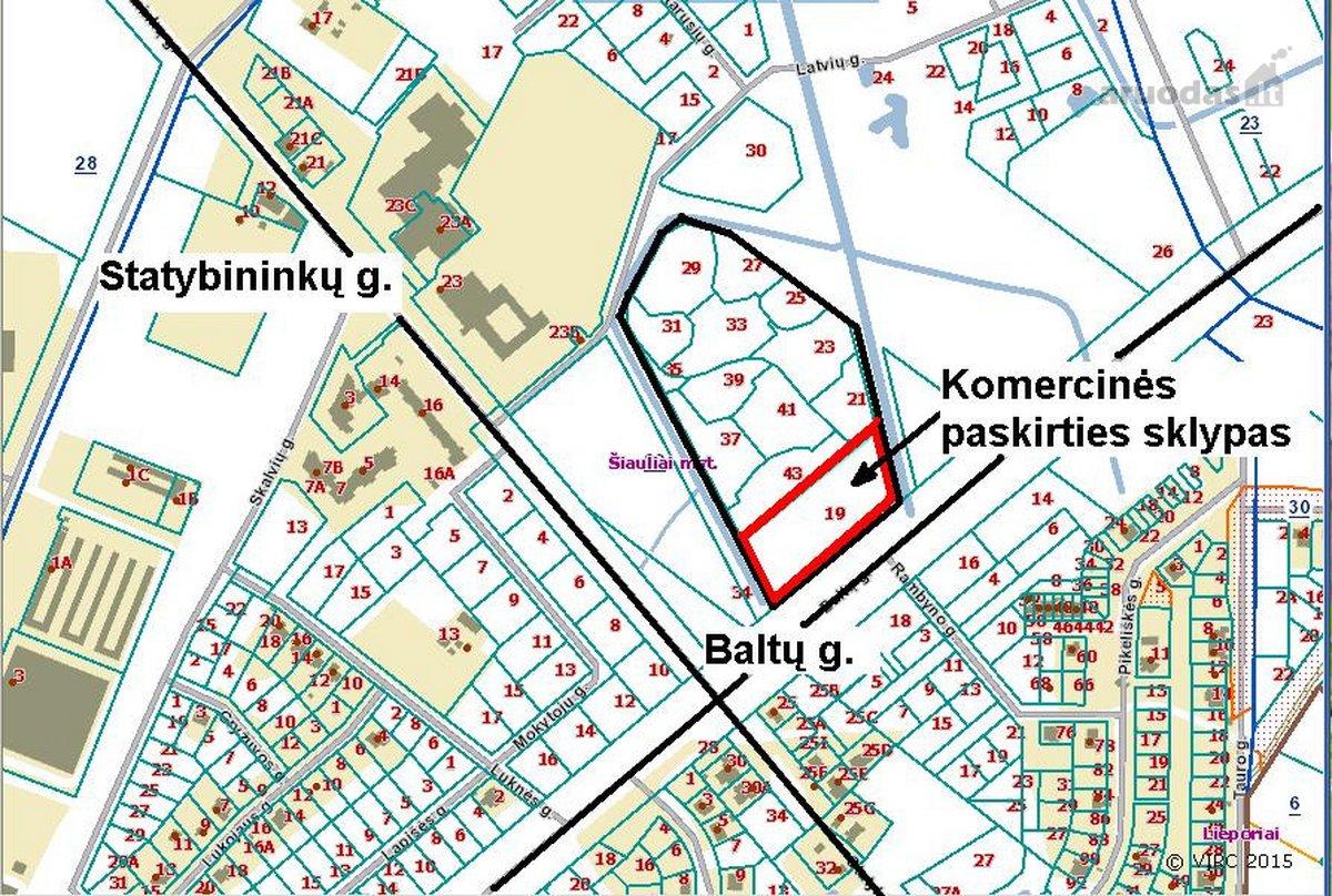 Šiauliai, Lieporiai, Baltų g., namų valdos, komercinės paskirties sklypas