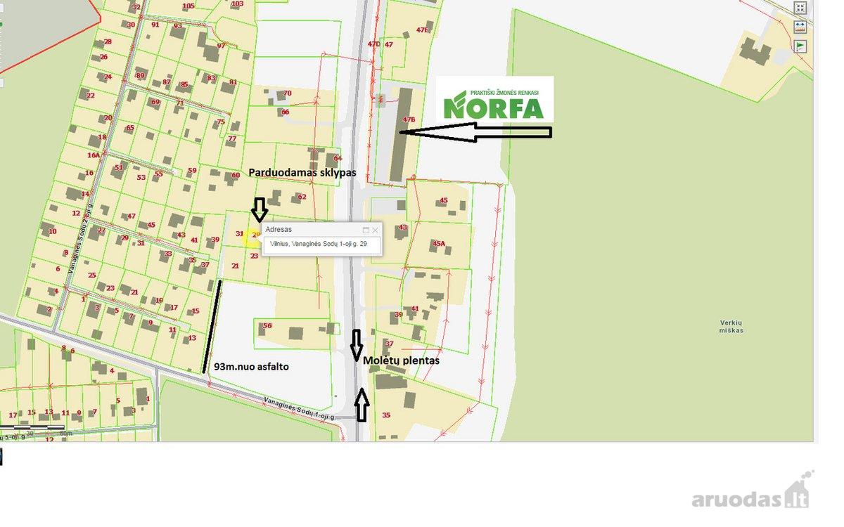 Vilnius, Visoriai, Molėtų pl., namų valdos paskirties sklypas
