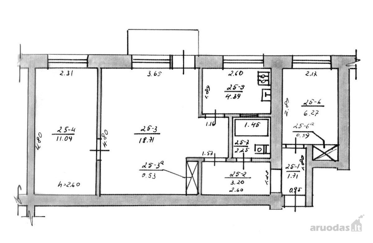 Zarasų m., Savanorių g., 3 kambarių butas
