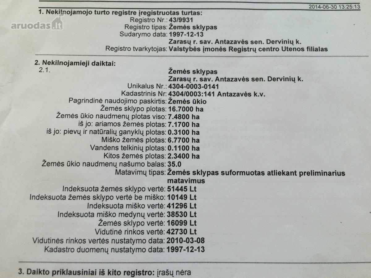 Zarasų r. sav., Antazavės k., žemės ūkio, miškų ūkio, komercinės, Kita paskirties sklypas