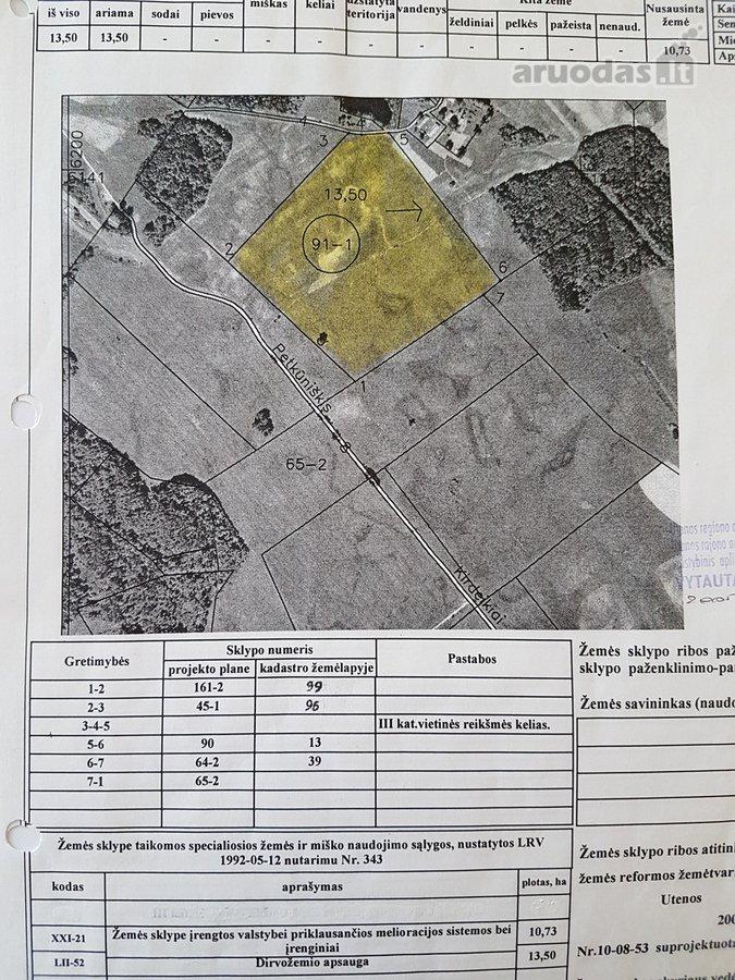 Utenos r. sav., Petkūniškio vs., žemės ūkio paskirties sklypas