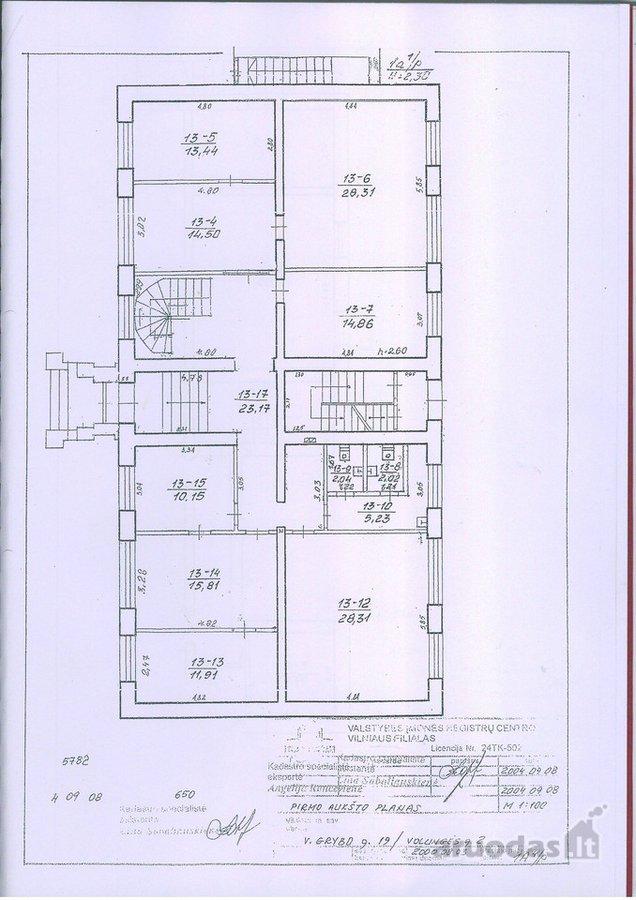 Vilnius, Antakalnis, V. Grybo g., biuro paskirties patalpos