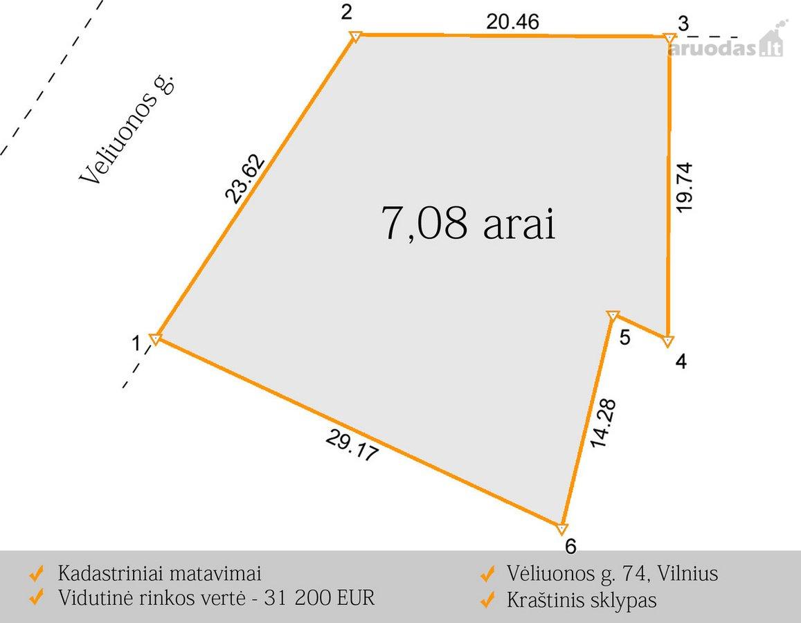 Vilnius, Mažieji Gulbinai, Veliuonos g., namų valdos, daugiaaukštės statybos, Kita paskirties sklypas